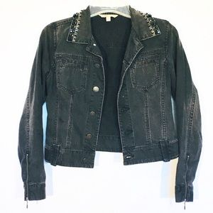 Cabi Womens Size Small Black Beaded Denim Jacket